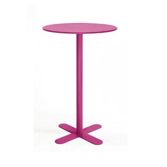 Table haute métal ronde D80 San Mateo Couleur Pourpre - Achat ...
