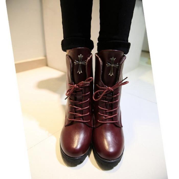 Épais avec tête ronde bottes courtes avec des talons hauts bottes cross sangle Martin bottes. 5JMKAqns