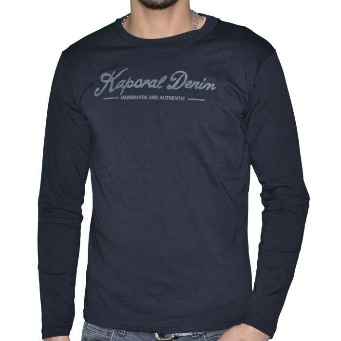 b312c63e9 Kaporal - T-shirt Manches Longues - Homme - York - Noir Noir Noir ...