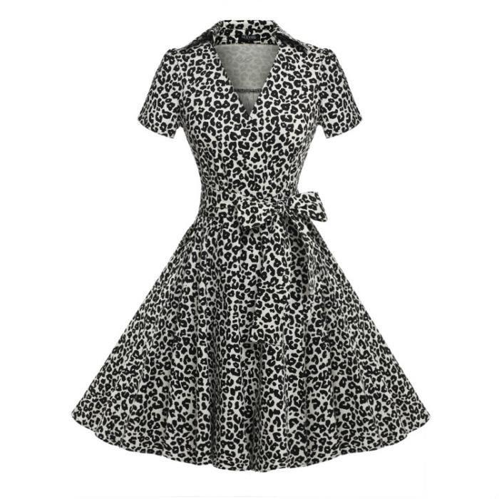 V man femme Finejo col robe à femme Casuel Robe x1W6PHzz