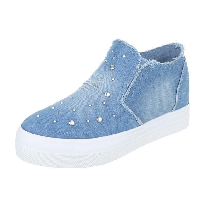 Femme chaussures flâneurs Strass Slipper loisirs chaussures bleu 41