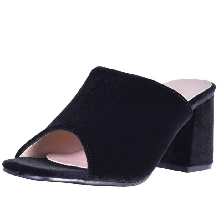 Catherine Malandrino Block Heel Velvet Slide Sandals HIJVQ Taille-41