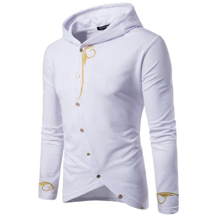 Hommes à manches longues à capuche couleur unie Manteau Veste Outwear Sport Tops MBlanc