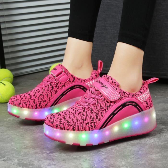 Nouveau Style Enfant Basket Flyknit Roulettes à Chaussures LED Lumière Chaussures Garçons Filles Sneakers Avec Deux Roues xHMuD4