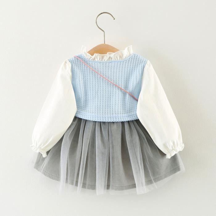 2017 automne robe fille bébé princesse manches longues épissage robe + accessoires petit sac