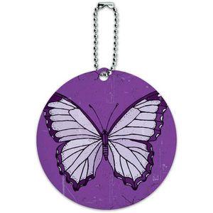 BRACELET DE MONTRE Papillon pourpre Artsy ronde ID Luggage cartonnées