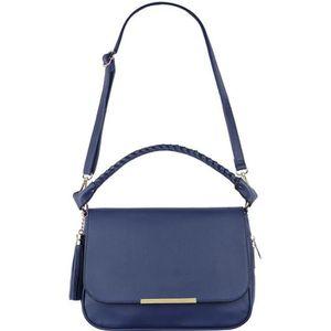 e09d5810ba CRAZYCHIC - Grand Sac Main Bandoulière Femme - Besace Fourre-Tout Cuir -  Pochette Porté Epaule Bandoulière - Sacoche Mode - Bleu