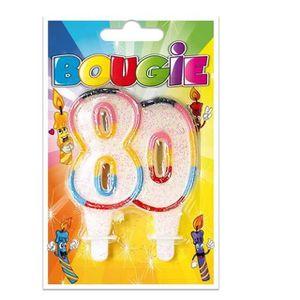 BOUGIE ANNIVERSAIRE Bougie anniversaire pailletée, 80ans (x1) REF/BBA0