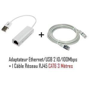 CÂBLE RÉSEAU  VSHOP® Adaptateur USB (mâle) vers Ethernet RJ45 (f