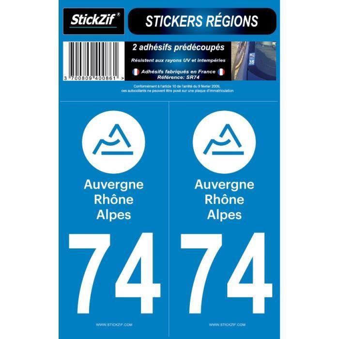 STICKZIF 2 Autocollants Région Département 74 SR74