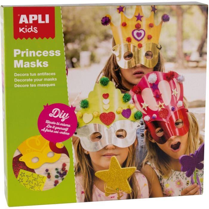 APLI Boîte 3 Masques de Princesse à décorer + Pièces de Mousse + Pompons Brillants