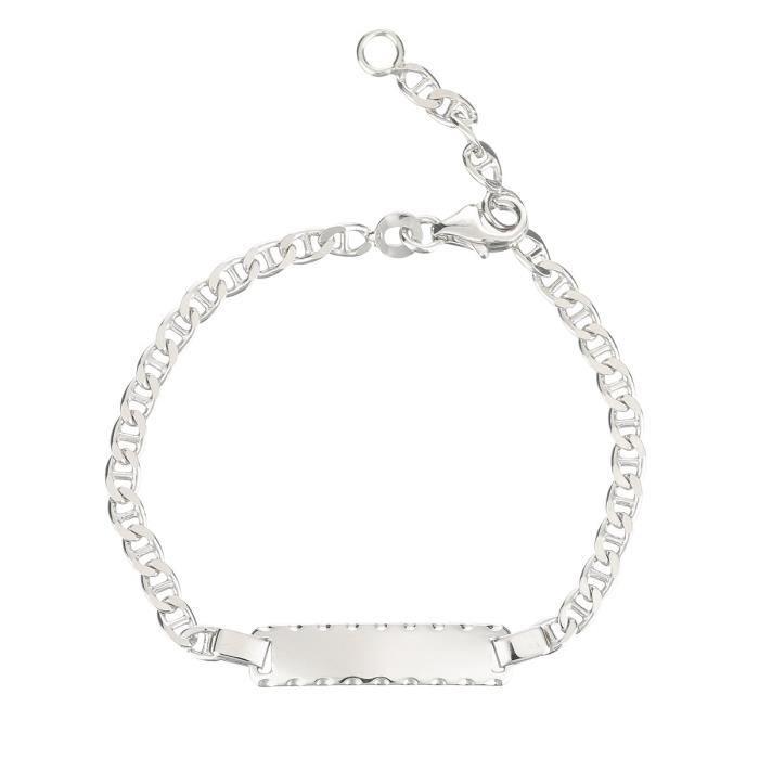 YSORA Bracelet Argent 925° Rodhié Maille Marine Enfant Mixte