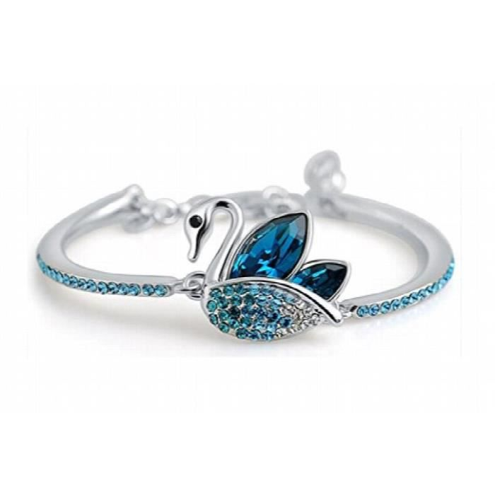 Womens Studded Swan Rhodium Plated Crystal And Cubic Zirconia Studded Alloy Bracelet For AndEH6U3