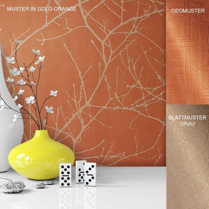 Papier Peint Toison Or Orange Gris Maison De Campagne Moderne