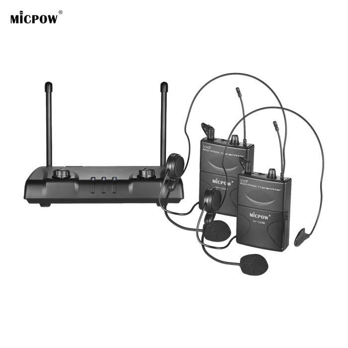 Système De Microphone Sans Fil Vhf À Deux Canaux Ammoon Emetteur 2 Poches Casque Micro Récepteur Conférence Professionnelle