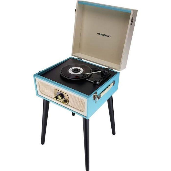 Meuble Tourne Disques Vintage Creme Bleu Bluetooth Tuner Fm