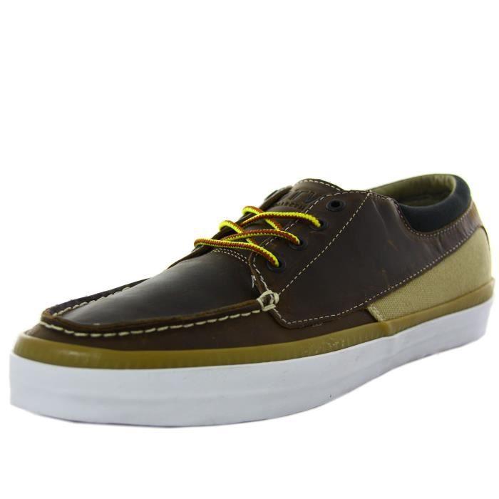 Homme Zapato Vans En Cobern Cuir Chaussures Marron Bateaux ZxwwzI18