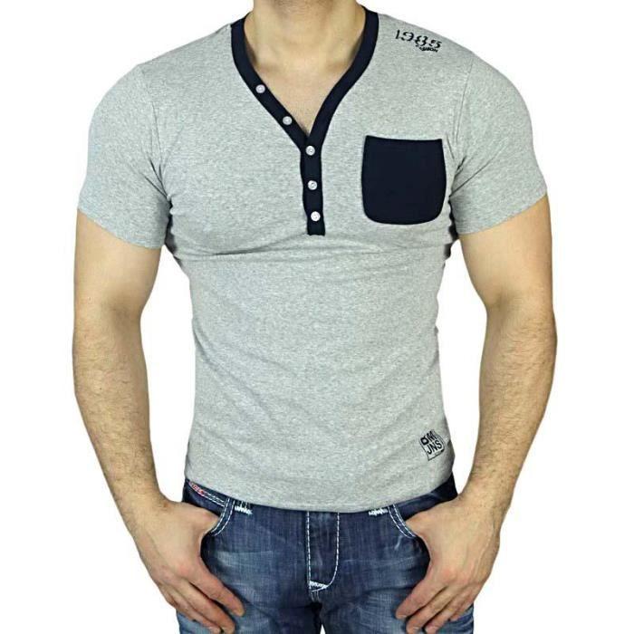 T V Homme Gris Sb Shirt Achat Mode Boutonné 30 Col Fashion VSzpqUM