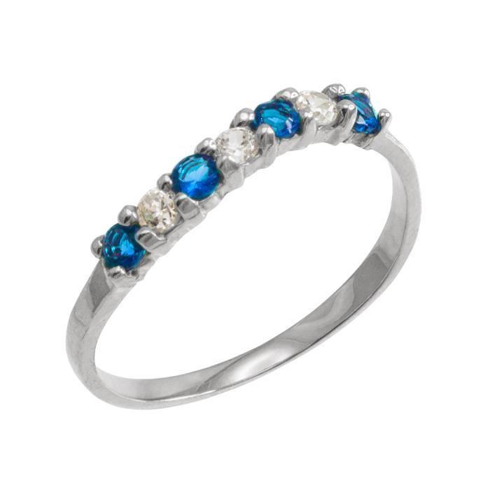 Bague Femme 14 ct Or Blanc 585/1000Empilable Oxyde de Zirconium Bleu Topaze