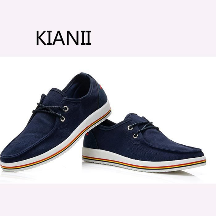 Gris Chaussures Homme Toile 2016-KIANII®