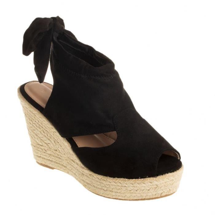 ca445d70b430c5 Sandales compensées femme en simili daim noir et noeud cheville à ...