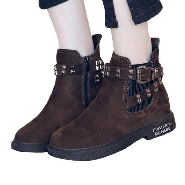 Boucle Bottes Suede Femmes Martin Rivets Chaussures Épais Round Chaud Talon Gardez Toe dPqfFcaWF