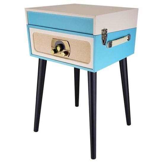 Meuble Tourne Disques Vintage Crème Bleu Bluetooth Tuner Fm