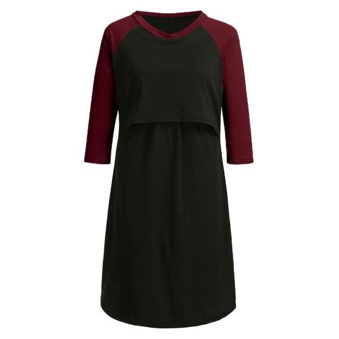 Robe De Des Allaitement Chemise Rouge D'allaitement La Pyjama Nuit Femmes Maternité rgOprZWq5