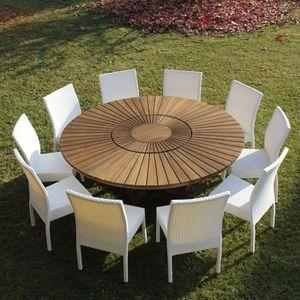 Table de jardin ronde en bois de teck Real Table - Achat / Vente ...