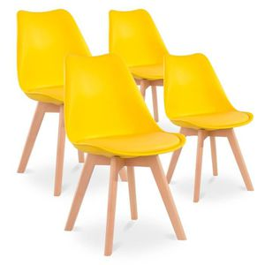 chaise lot de 4 chaises style scandinave catherina jaune - Chaise Scandinave Jaune