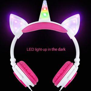 CASQUE - ÉCOUTEURS Casque audio lumineuses à LED Licorne Oreilles de