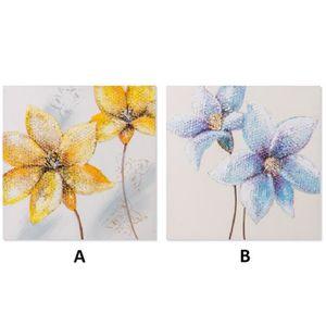 TABLEAU - TOILE Portrait fleurs peinte à la main. Deux modèles. (6
