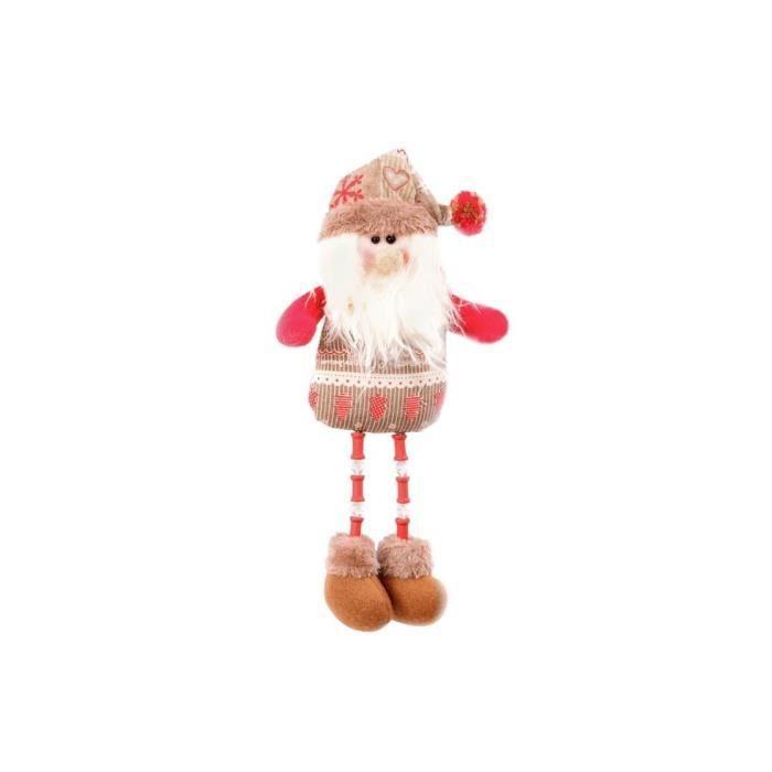 Personnage de Noël : Père Noël et cadeau de Noël en tissu 30 cm Rouge