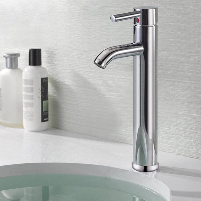 Mitigeur de lavabo salle de bains moderne Vanity navire robinet d\'évier en  laiton chromé Bec Grand pont de montage Robinetterie