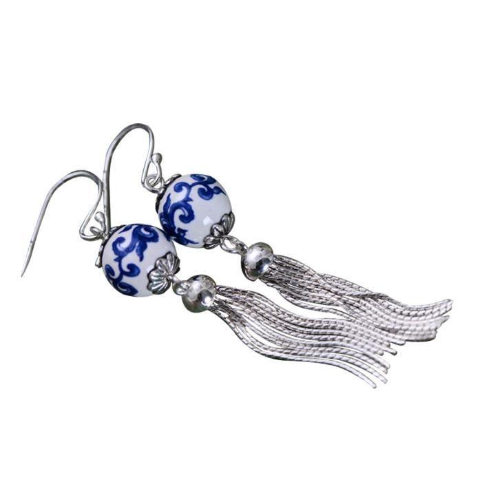 Boucles doreilles à glands en argent Sterling à la mode en perles de rocaille