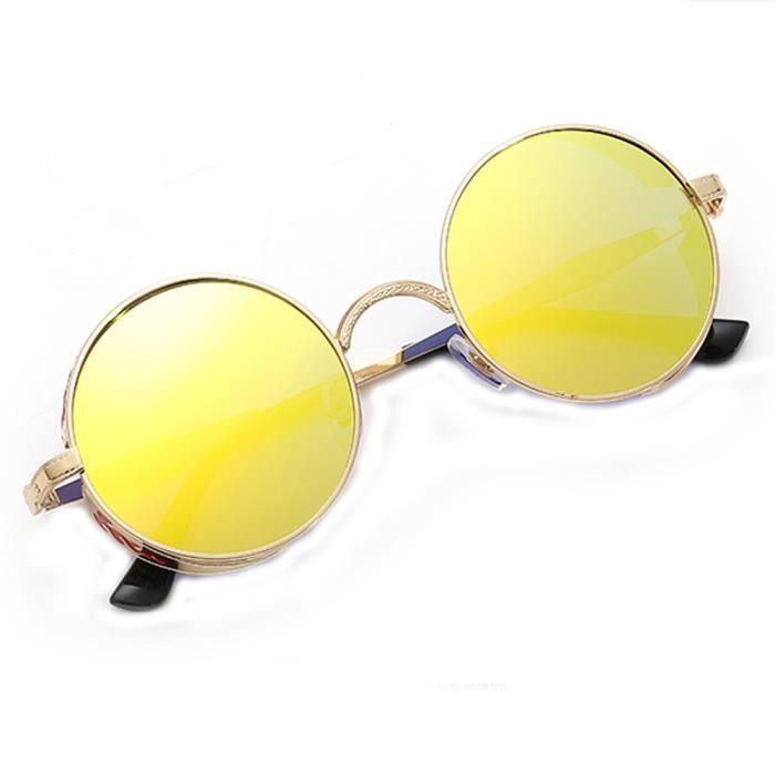 Femmes hommes été Vintage rétro rond dégradé couleur lunettes de mode unisexe Aviator lentille miroir gd