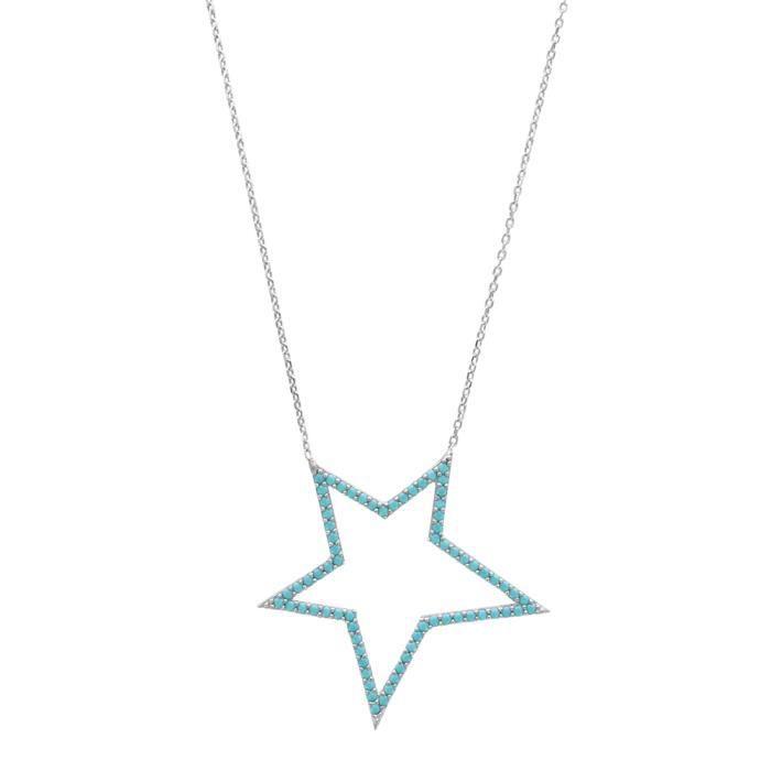 Collier étoile argent 925/1000 et et turquoise synthétique 40+5cm