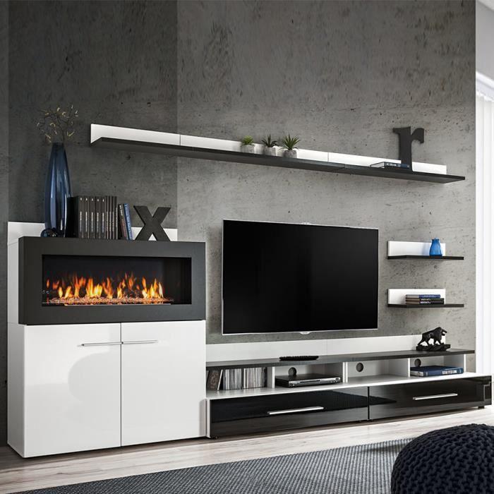 MEUBLE TV Meuble TV avec rangement et cheminée noir laqué MA