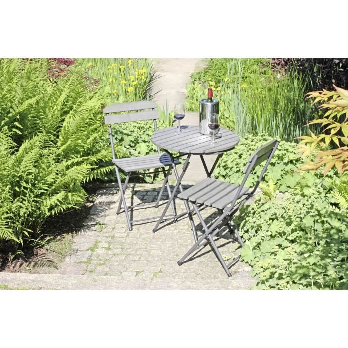 Salon de jardin pliable en bois Gris Lugo - Achat / Vente ...