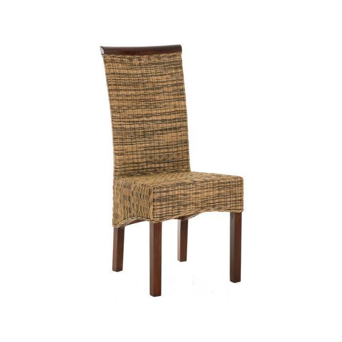 chaise rustique en rotin et bois massif acajou avec pi tement en bois massif p 39079 co marron. Black Bedroom Furniture Sets. Home Design Ideas