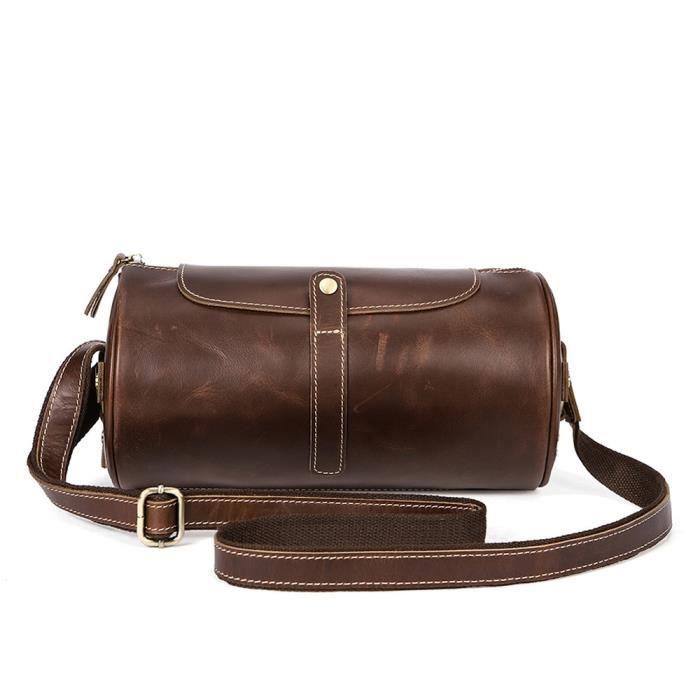 4617877fb1 Sac à bandoulière en cuir pour homme Europe rétro première couche cylindre  en cuir sac Messenger sac de voyage sac polochon