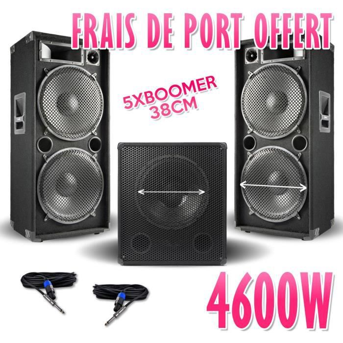 """PACK SONO Pack 15-215-SK 4600W Sub38 -2 Enceintes 15"""" +CABLE"""