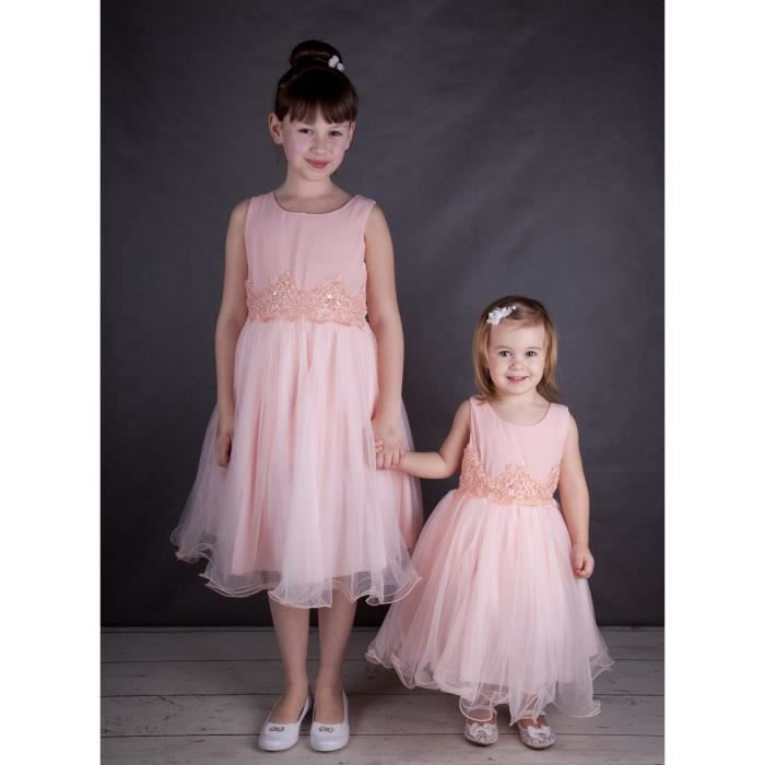 Robe fille mariage rose poudre