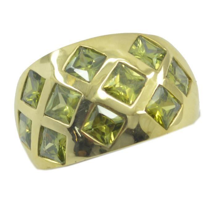 Bague péridot cz - anneau vert - Bague en or plaqué - bague plaqué or vert