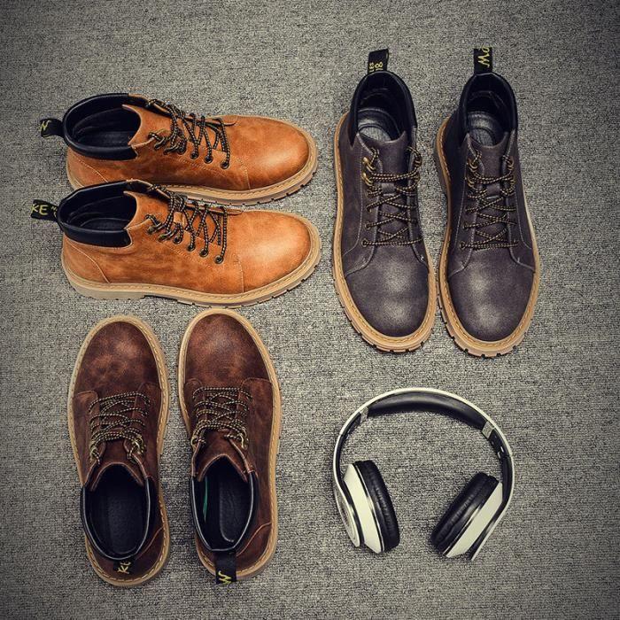 cuir rétro chaussure homme véritable bottes Martin qFOwv1qHx