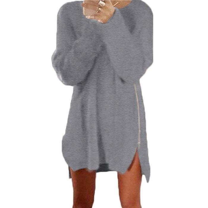 hot sale new photos outlet store Minetom Femme Automne Hiver Pull Robe Casual Manche Longue Sweater Dress  Côté Fermeture éclair Long Tricots Pulls