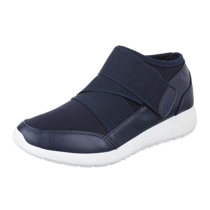femme chaussure chaussures décontractées fermeture velcro bleu foncé