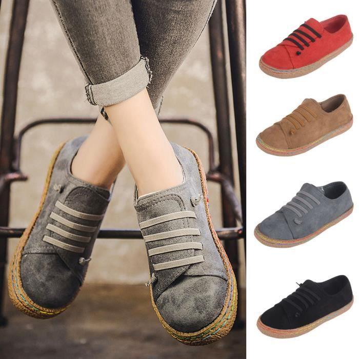 Femmes dames molles à cheville plate chaussures simples en cuir Suede femmes bottes dentelle LMH70901551