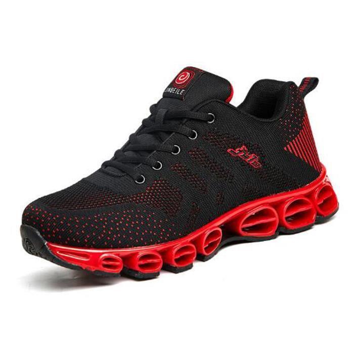 Basket Homme Chaussure de running damping Spring bottom Voler un tissu tissé Casual chaussures Noir Rouge 0uMAjhN