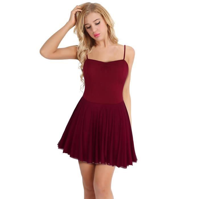 Robe de Ballet Danse Femme Adulte - Justaucorps danse classique gymnastique Sans  manches performances scène Coton 95a8e12f0473